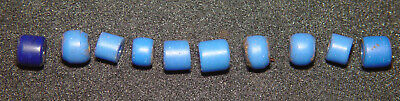 Lot of 10 Original Handmade Small Blue Padre Glass Trade Beads