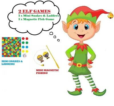 ELF ACCESSORY Prop Ideas Mini Snakes & Ladders + Fishing Game for on the shelf