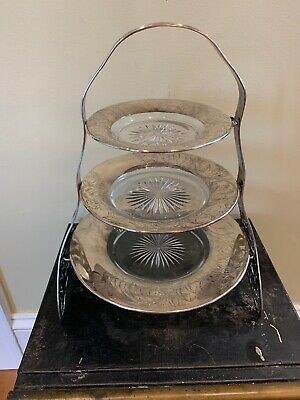 Antique Sterling Silver 3 Tier Petit Fours Cake Stand
