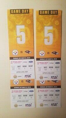 (4) Pittsburgh Steelers vs Balt Ravens Tickets 10/06/19 Game!!!