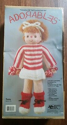 "Vintage Adorables ""Terry"" ©1980 Nation Yarn Crafts  Crochet 16"" Doll Kit"