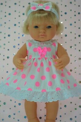 Dolls Clothes For 38cm Miniland Doll FLURO PINK POLKA DOT DRESS~HEADBAND