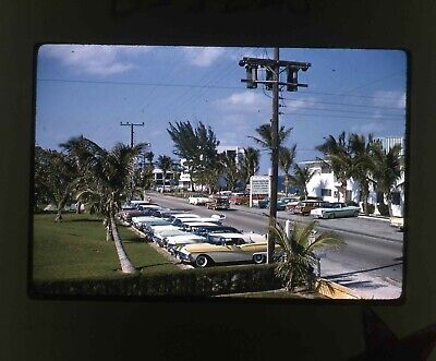 Whiter Border slide of a line of late 1950s cars parked Americana!