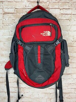 The North Face Recon Flexvent Backpack Daypack Laptop Bag Gray Red