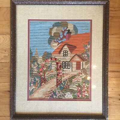 Antique over 100 year old Crewel Needlepoint Country Cottage Arbor Garden NICE!