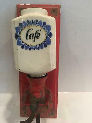 "FRENCH COFFEE GRINDER-antique, wall mounted white porcelain ""cafe"" red paint OLD"