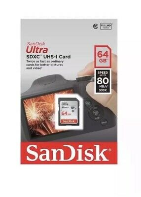 Sandisk 64gb Ultra SDHC Sd Card Class 10 UHS-1 Memory Card 80mb/s For Camera