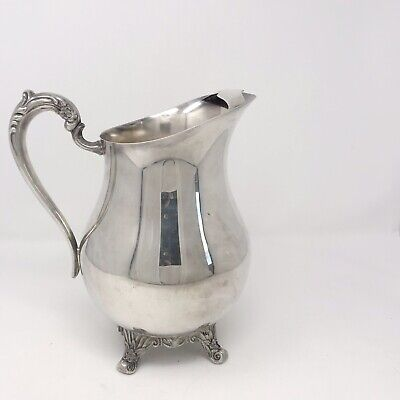 Vintage FB Rogers #3707 Silver Footed Water Pitcher Jug With Ice Catcher & Heavy