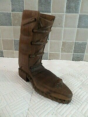 Antique Folk Art Carved Wooden Boot With Mouse Lovely Old Piece Of Treen