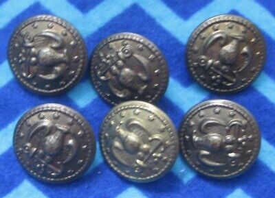 "6 Vintage Military Style  Buttons  Anchor Eagle 13 Stars 7/8"" Brass Tone Shank"