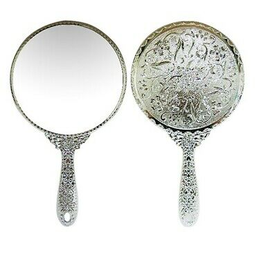 Vintage style Round Vanity Hand held Mirrors Purses Make up Mirror Large Silver