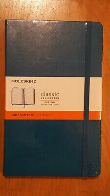 """Moleskine Classic Collection Ruled Notebook Blue Hardcover 5"""" x 8.25"""" New"""