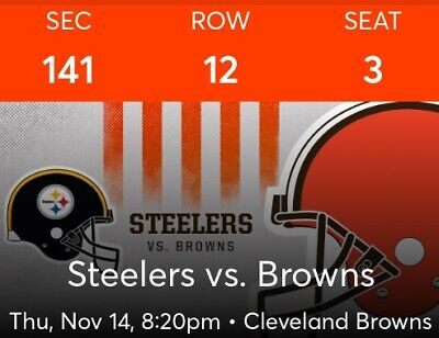 Cleveland Browns vs. Pittsburgh Steelers tickets 11/14/2019 Lower level LL NFL