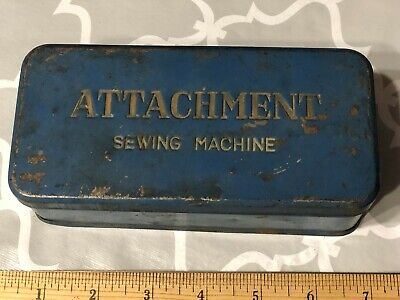 VTG Attachment Sewing Machine Metal Tin Case Storage Box with parts & manual