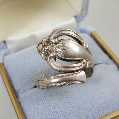 Vtg Antique INTERNATIONAL DEEP SILVER Bypass Spoon Ring 6.2 grams Size 7