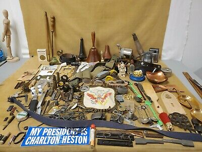 Vintage Junk Drawer Lot Estate Items, Collectibles, Gun Parts, Military, Old