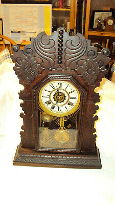 "Antique Waterbury ""Tiffin"" Gingerbread Kitchen Alarm 8 day mantle clock runs"