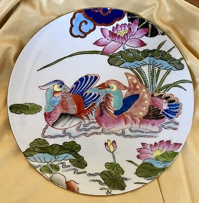 """Antique Japanese Hand Painted Enamel ~ Birds & Flowers Plate """"Stamped"""""""