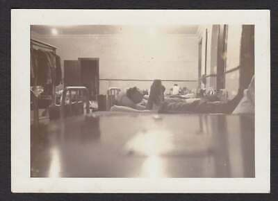 Man Reading Book Bunk In Army? Barricks Old/Vintage Photo Snapshot- T185