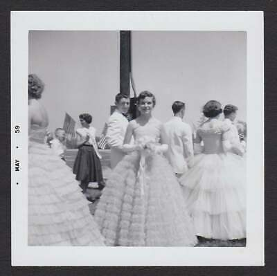 May Day Celebration Pretty Formal Dresses Old/Vintage Photo Snapshot- T198