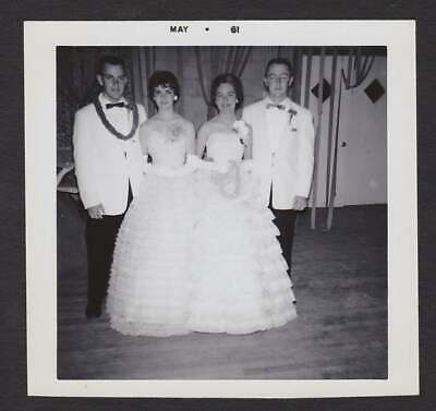 Beautiful Strapless Southern Belle Formal Dress Old/Vintage Photo Snapshot- T211