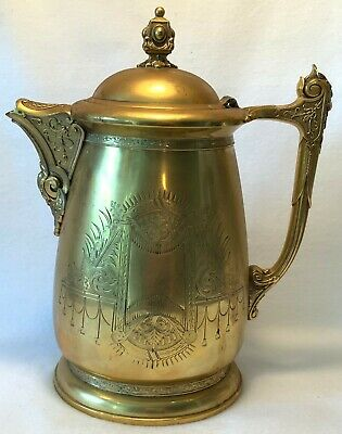 19th c. Victorian WEBSTER MF'G Co. Gilt TRIPLE PLATE Silverplated Water Pitcher