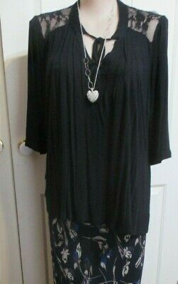 Black Blouse with lace inserts on shoulders long sleeves SIZE XXL