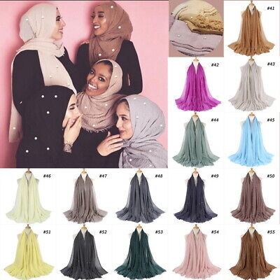 Cotton Blend Viscose Maxi with Pearl Crinkle Hijab Scarf Soft Muslim 200x100cm