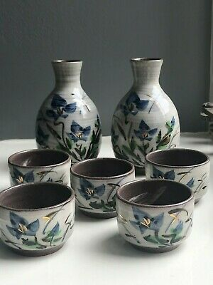 7-Piece Japanese Sake Set Hand Made & Painted Pottery Traditional Tea Cup 1990s