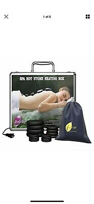 PROFESSIONAL MASSAGE STONE HEATER and 16 BASALT STONES Portable Carry Case