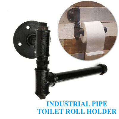Industrial Vintage Iron Pipe Toilet Paper Roll Holder Washroom Wall Mount Decor