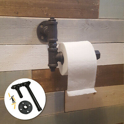 Industrial Vintage Iron Pipe Toilet Paper Roll Holder Washroom Wall Decor AU