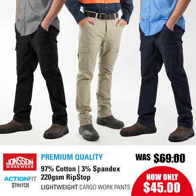Mens Cargo Pants RipStop Stretch Work Trousers Lightweight