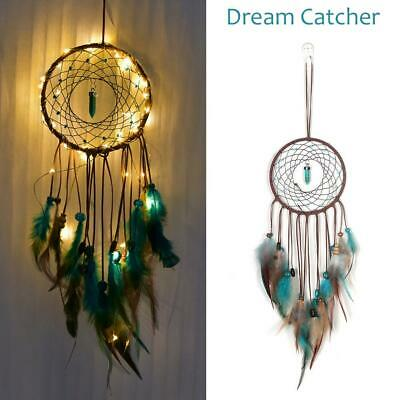 LED Dream Catcher Handmade Feathers Wall Car Hanging Decor Turquoise Ornament