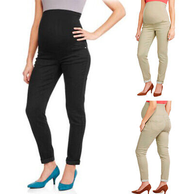Womens Pants Pregnant Maternity Ladies High Waist Stretch Pencil Trousers Cutton