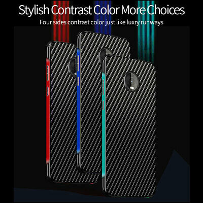 Luxury Carbon Fiber Metal Bumper Shockproof Back Case Cover For Motorola Moto Z4