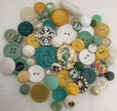 Lot Vintage Buttons YELLOW TEAL Early Plastics Rhinestone Crafts Altered Art
