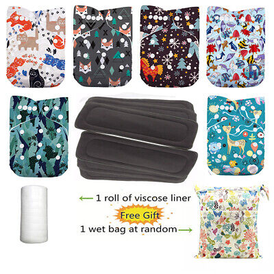 DoDo Bear Reusable Washable One Size Baby Cloth Diapers,Charcoal Bamboo inserts