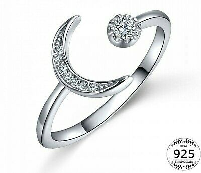 Moon 925 Silver Sterling Rings Open Adjustable Cubic Zirconia Rings Rose New