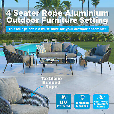 4 Seater Outdoor Furniture Sofa Set Textilene Rope Garden Patio Lounge Setting