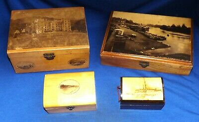 Small Lot Of Antique Boxes Including Mauchline Ware, Treen, Others.