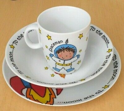Arthur Wood Space Man To The Moon 3 Piece Breakfast Set Plate Bowl Cup Unused