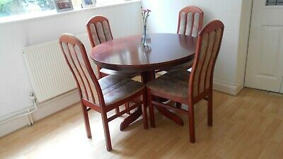 Sturdy Mahogany Round Extending Dining Table & 4 Part Fabric Padded Chairs