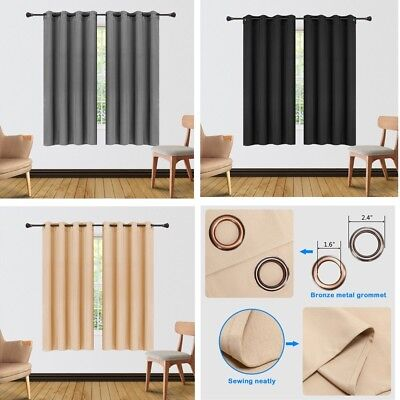 Luxury Soft Thermal Blackout Eyelet Ring Top Lined Pair Curtains