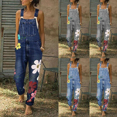 Women Floral Denim Jumpsuit Ladies Dungarees Overalls Straps Jeans Trousers