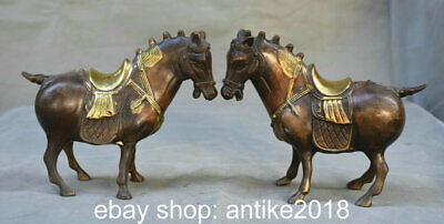"6.8"" Old Chinese Red Copper Gilt Dynasty Palace Stand Horse Success Statue Pair"