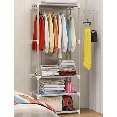 Clothes Hanging Rail Open Wardrobe Bedroom Storage Shelves Organizer Shoes Rack
