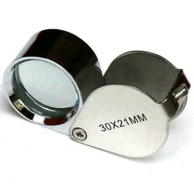 30X21mm Jewellers Jewellery Loupe Magnifier Magnifying Glass Eye Lens-Silve I2E9