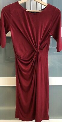 Mothercare Blooming Marvellous Maroon Maternity Dress with Knotted Design Size 8