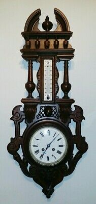 FRENCH ANTIQUE CARVED OAK WOOD BLACK FOREST CLOCK WITH THERMOMETER XIXth